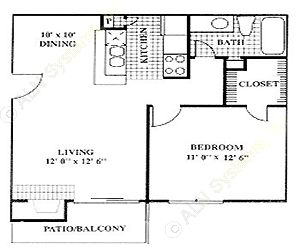611 sq. ft. A2 floor plan