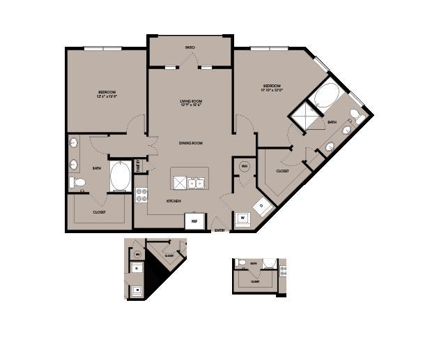 1,159 sq. ft. B3.2 floor plan