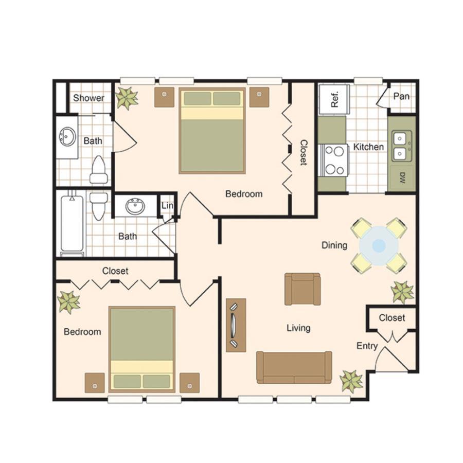 982 sq. ft. B3 floor plan