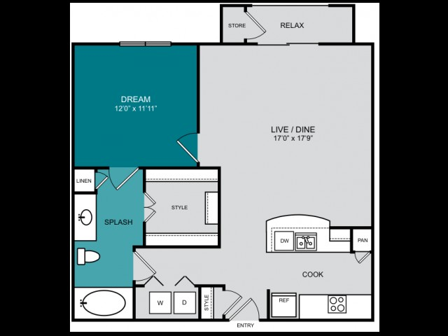 832 sq. ft. A4  REGAL floor plan