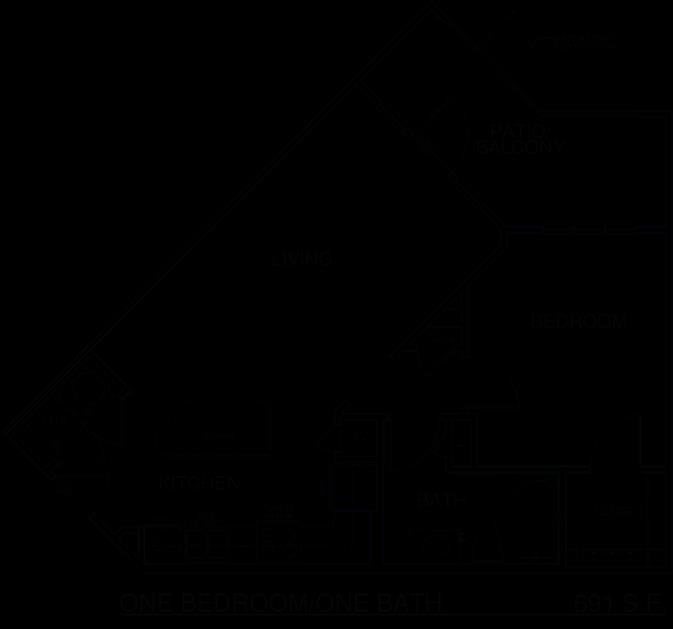 691 sq. ft. A5/60% floor plan