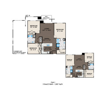 1,387 sq. ft. Oak II floor plan