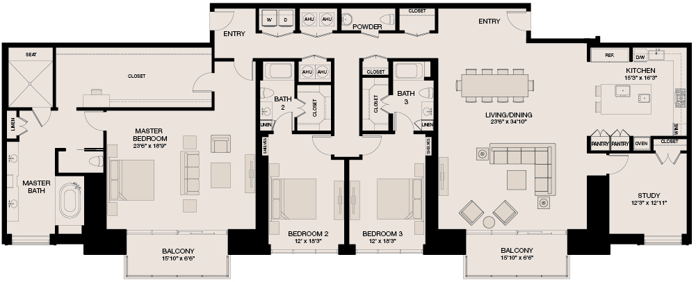 3,651 sq. ft. Penthouse floor plan