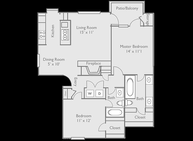 1,025 sq. ft. C1 floor plan