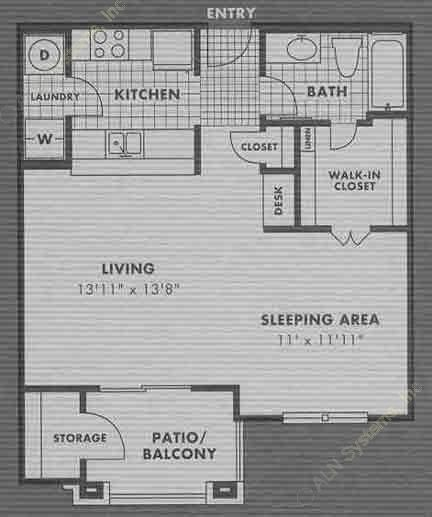 621 sq. ft. E1 floor plan
