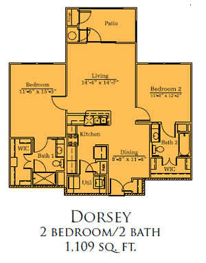 1,109 sq. ft. Dorsey/60% floor plan