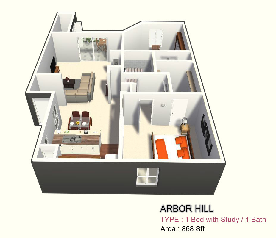 868 sq. ft. 1D floor plan