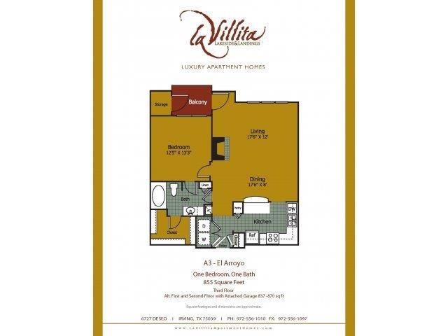 855 sq. ft. to 870 sq. ft. El Arroyo floor plan