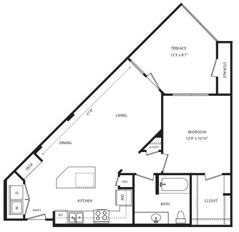 750 sq. ft. A6 floor plan
