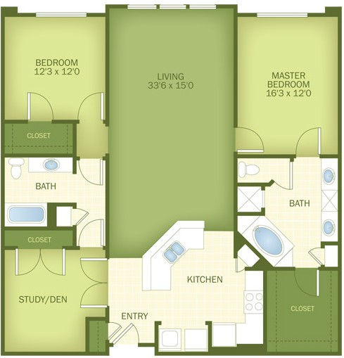 1,608 sq. ft. Highland floor plan