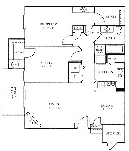 1,012 sq. ft. B floor plan