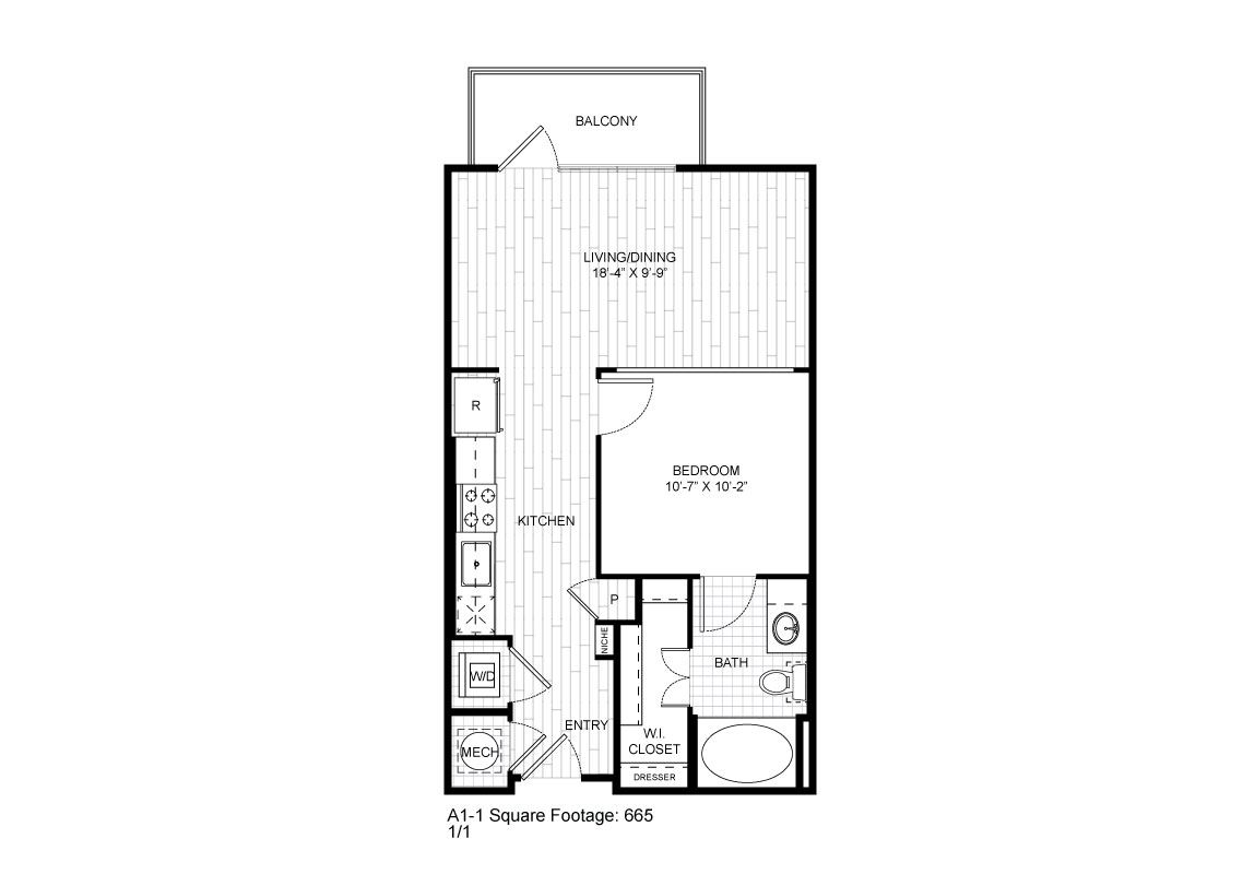 665 sq. ft. A1-1 floor plan