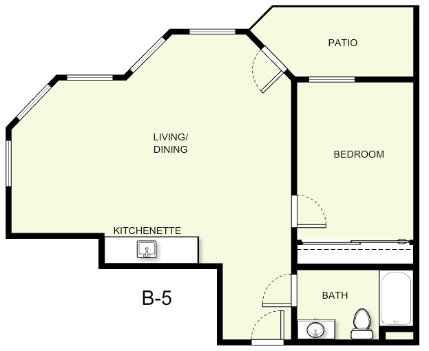 694 sq. ft. B5 floor plan