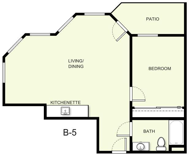 694 sq. ft. B5 floor plan