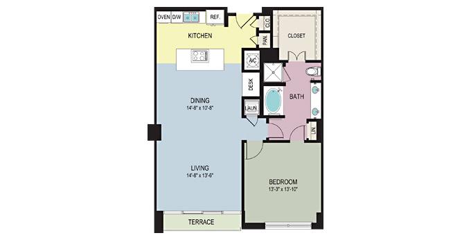1,109 sq. ft. AA floor plan