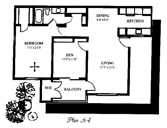 833 sq. ft. floor plan