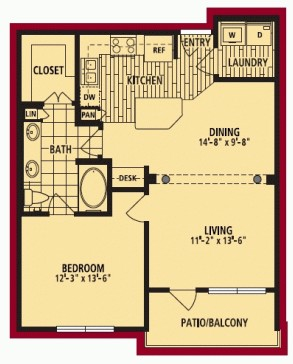793 sq. ft. FLORENCIA floor plan