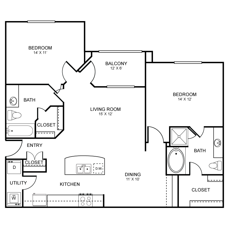 1,126 sq. ft. Oakwood floor plan