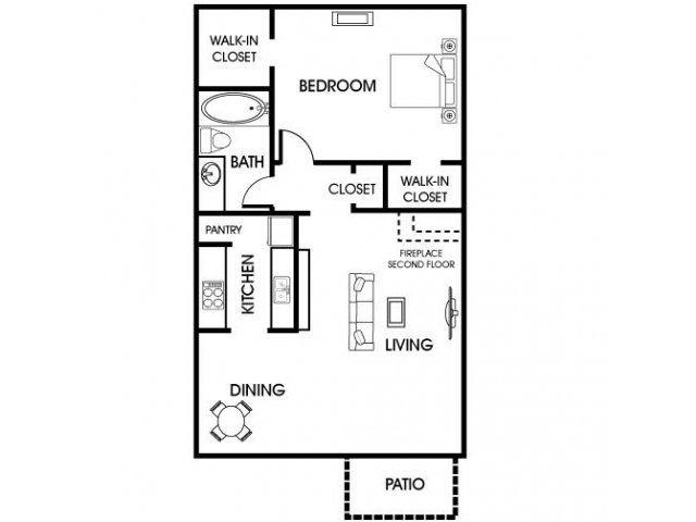 680 sq. ft. A3 floor plan