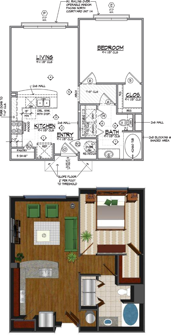 667 sq. ft. C floor plan