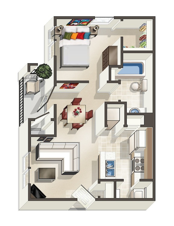 724 sq. ft. A floor plan