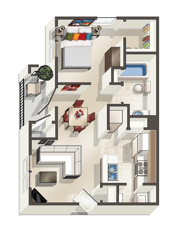 724 sq. ft. Ash floor plan