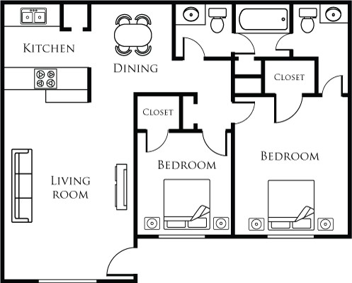 886 sq. ft. 21A floor plan