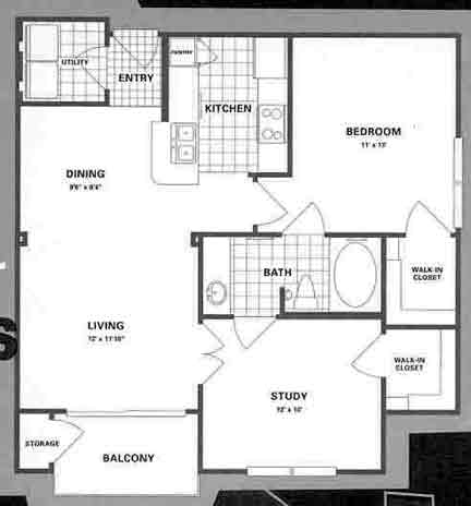860 sq. ft. B1PB floor plan