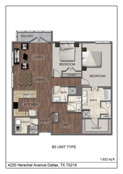 1,622 sq. ft. B5 floor plan
