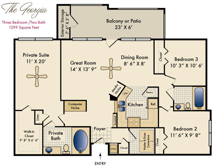 1,299 sq. ft. Georgia floor plan
