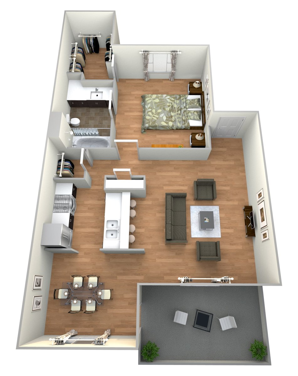 698 sq. ft. 1x1 E floor plan