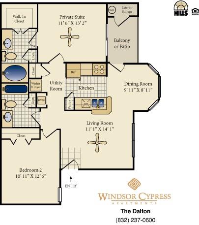 925 sq. ft. Dalten floor plan