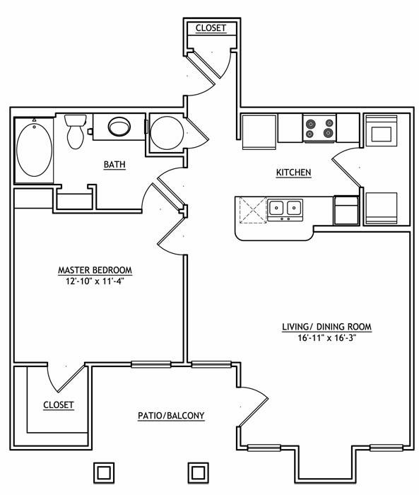 860 sq. ft. AA1GU floor plan