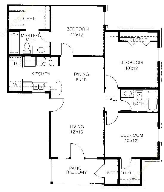 1,034 sq. ft. C1 floor plan