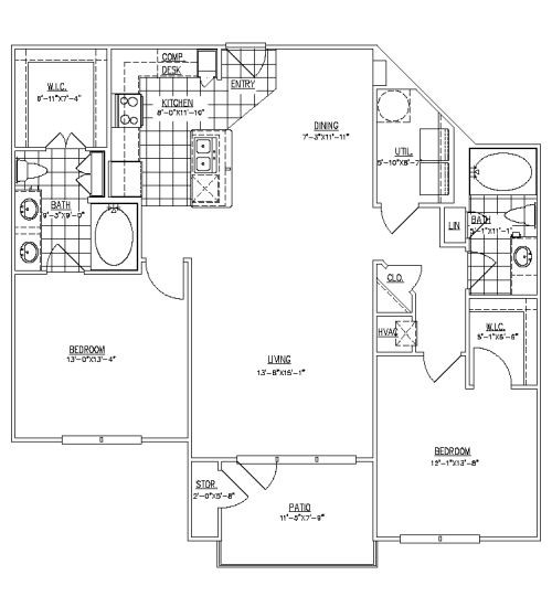 1,251 sq. ft. Rutlands III floor plan