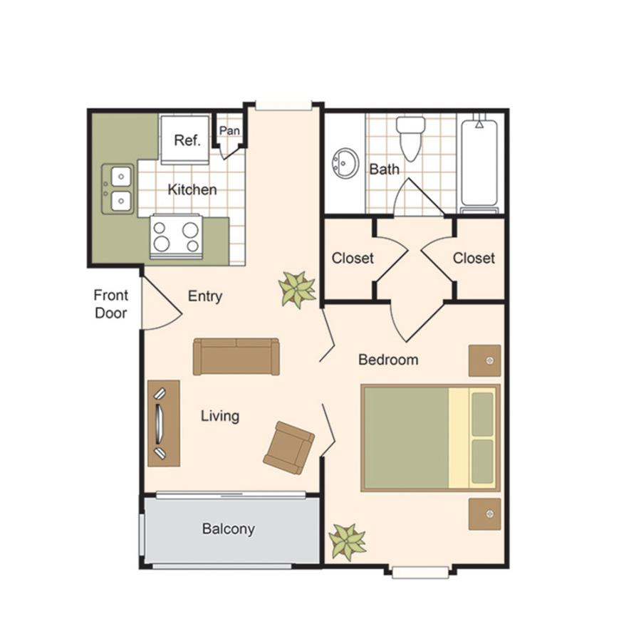 491 sq. ft. A floor plan