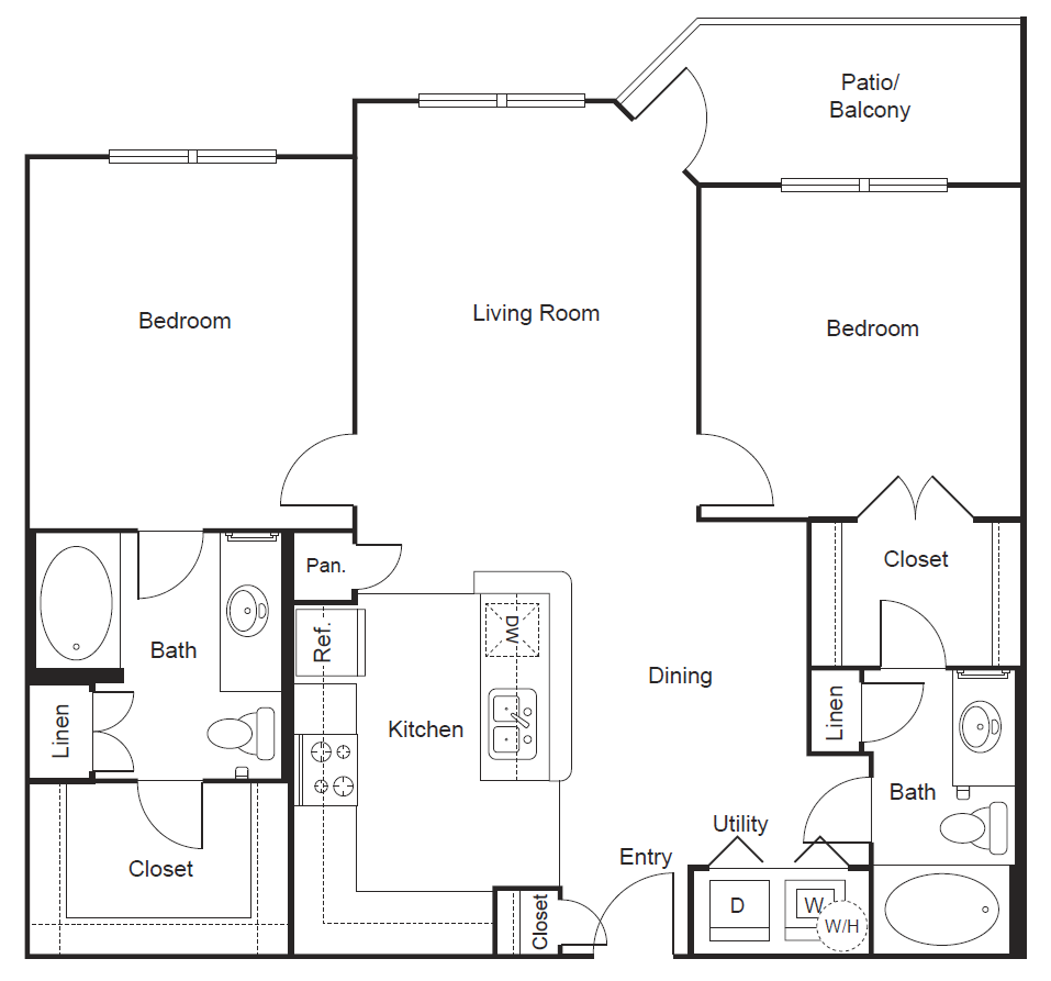 1,058 sq. ft. B3 floor plan