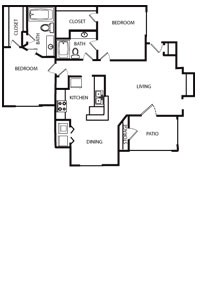 1,025 sq. ft. 60% floor plan