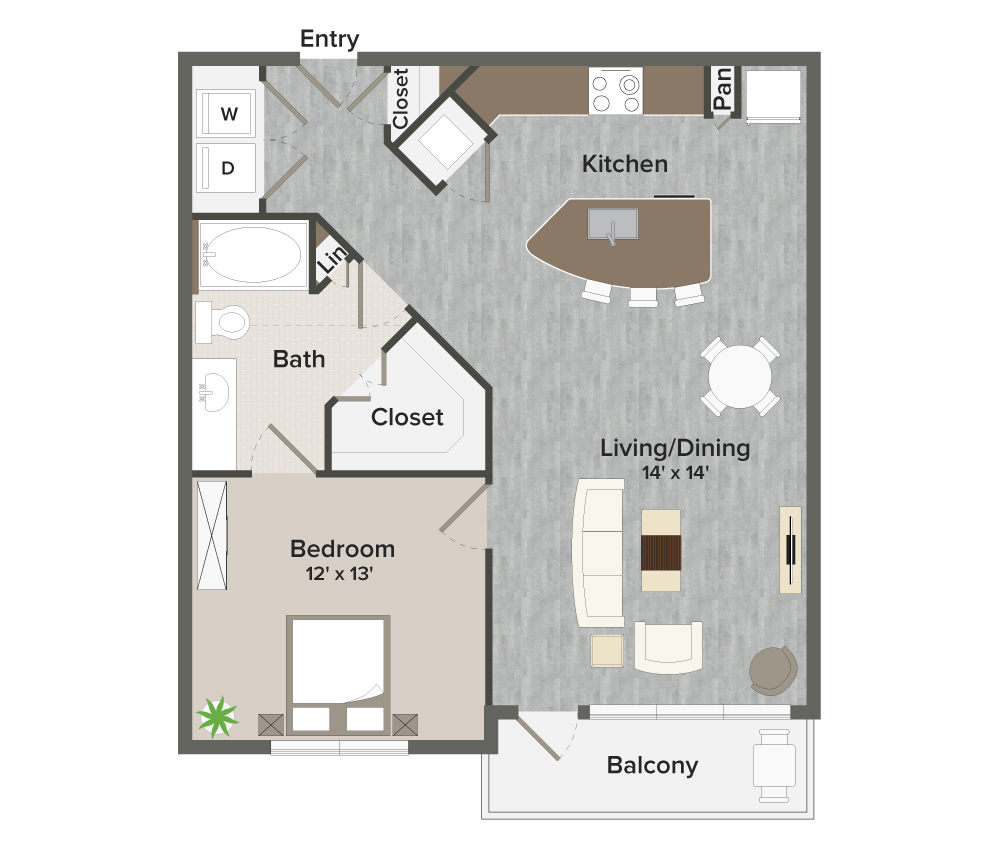 844 sq. ft. Hamilton-A5 floor plan