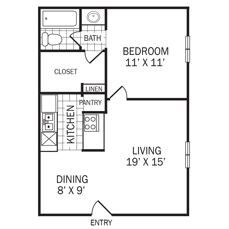 553 sq. ft. A2 floor plan