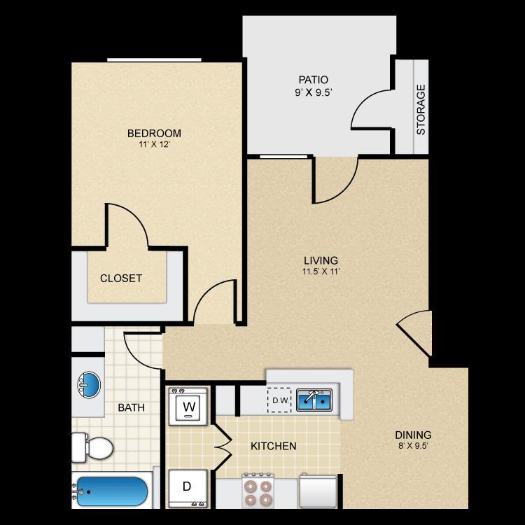 671 sq. ft. Bandera floor plan
