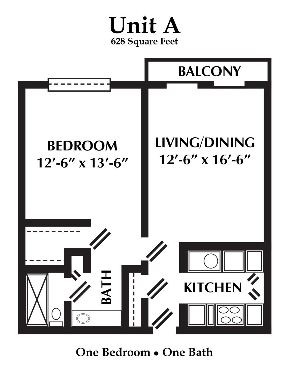 628 sq. ft. floor plan