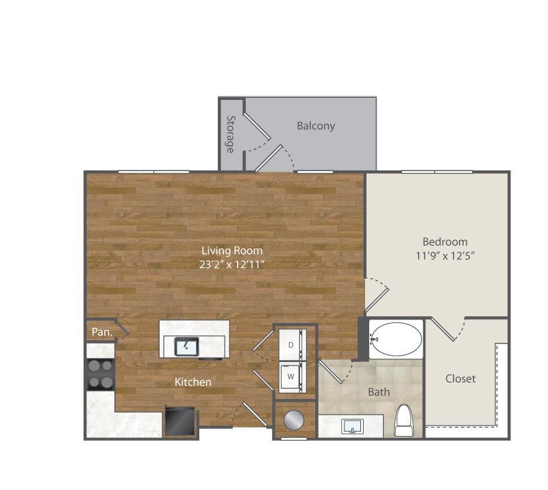 863 sq. ft. A5 floor plan