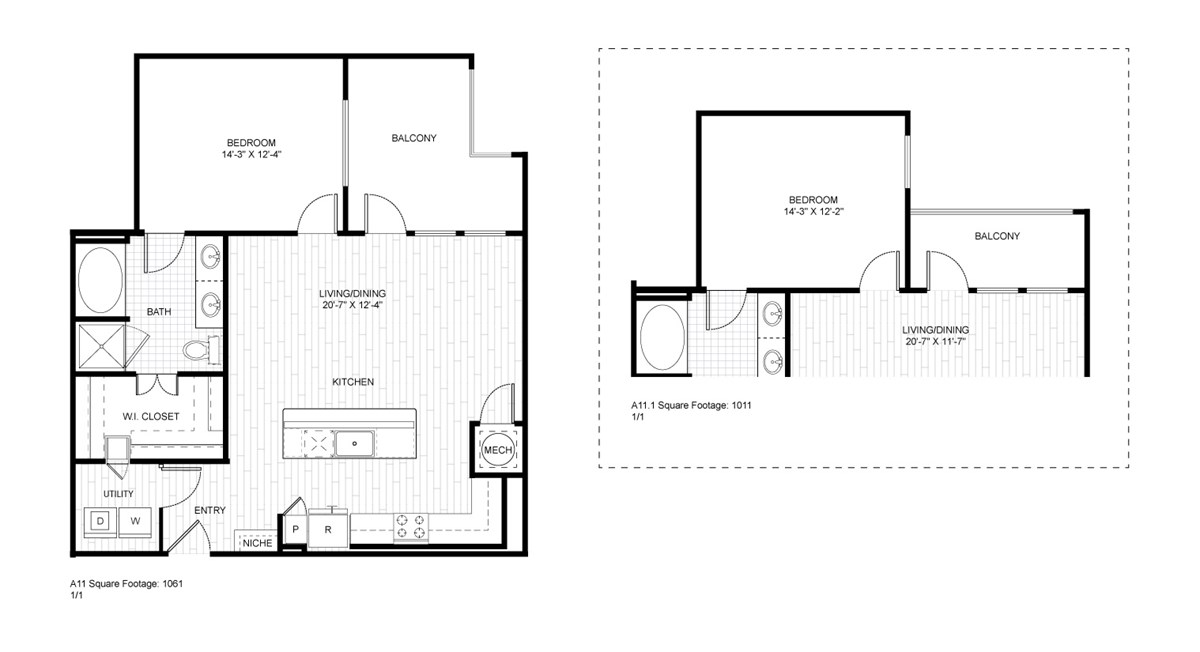 1,061 sq. ft. A11 floor plan