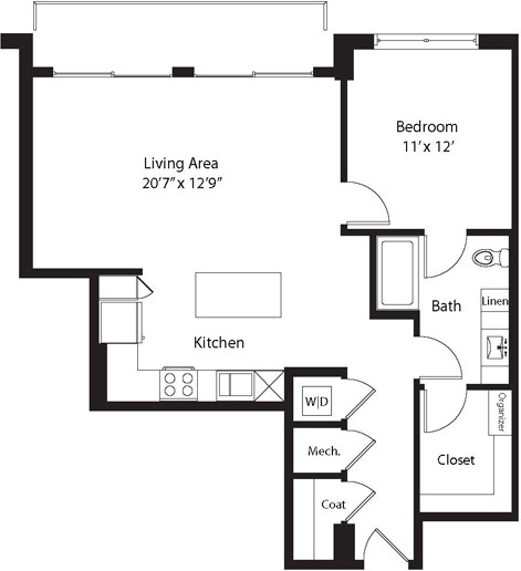 888 sq. ft. TG floor plan
