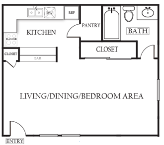 488 sq. ft. Elm floor plan