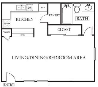 488 sq. ft. Elm floor plan