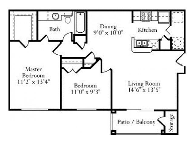 882 sq. ft. Willow floor plan