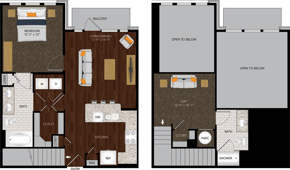 979 sq. ft. M1A floor plan