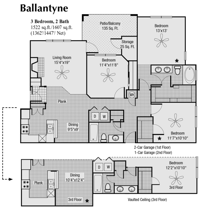 1,447 sq. ft. to 1,607 sq. ft. R floor plan